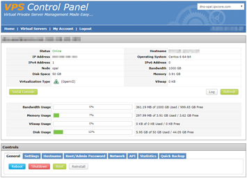 VPS Control Panel Screenshot